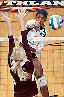 SAN ANTONIO, TX - NOVEMBER 10, 2011: The Texas State University Bobcats vs. The University of Texas at San Antonio Roadrunners Volleyball at the UTSA Convocation Center. (Photo by Jeff Huehn)