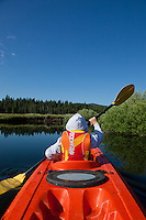 """Boy Kayaking on Prosser Reservoir 2"" -This photography of a boy kayaking was photographed on Prosser Reservoir in Truckee, CA."