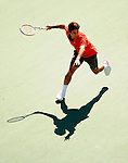 NEW YORK - AUGUST 31: Roger Federer of Switzerland prepares to hit a shot back to Radek Stepanek of Czechslovakia during Day 7 of the 2008 U.S. Open at the USTA Billie Jean King National Tennis Center on August 31, 2008 in the Flushing neighborhood of the Queens borough of New York City. *** Local Caption *** Roger Federer