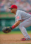 21 May 2014: Cincinnati Reds catcher Brayan Pena plays at first against the Washington Nationals at Nationals Park in Washington, DC. The Reds edged out the Nationals 2-1 to take the rubber match of their 3-game series. Mandatory Credit: Ed Wolfstein Photo *** RAW (NEF) Image File Available ***