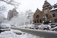 Heavy wet snow covered street in the Chelsea neighborhood of New York on Monday, February 3, 2014. A winter storm with wet, slushy snow hit the city with an expected snowfall of 4 to 8 inches. (© Richard B. Levine)
