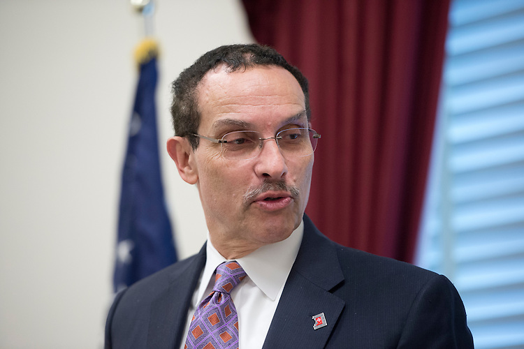 """UNITED STATES - MAY 29: DC Mayor Vincent Gray speaks during the news conference to oppose """"Republican riders targeting D.C.'s home-rule authority,"""" on Tuesday, May 29, 2012. (Photo By Bill Clark/CQ Roll Call)"""