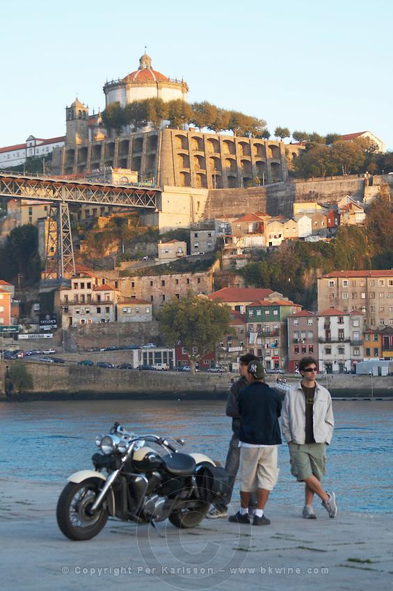 motorcycle and young men Na Sra da serra do pilar monastery vila nova de gaia porto portugal
