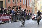 Tom Dumoulin (NED) Team Sunweb and Chris Juul Jensen (IRL/DEN) Orica-Scott on the final brutal climb of Via Santa Caterina in Siena during the 2017 Strade Bianche running 175km from Siena to Siena, Tuscany, Italy 4th March 2017.<br /> Picture: Eoin Clarke | Newsfile<br /> <br /> <br /> All photos usage must carry mandatory copyright credit (&copy; Newsfile | Eoin Clarke)