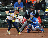 Michigan Wolverines during the infielder Abby Ramirez (1) lays down a bunt single in the bottom of the third inning in front of catcher Aubree Munro (1) and umpire Tyrone Miller during the teams season opener against the Florida Gators on February 8, 2014 at the USF Softball Stadium in Tampa, Florida.  Florida defeated Michigan 9-4 in extra innings.  (Mike Janes/Four Seam Images via AP Images)