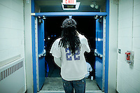 A former student of Sayreville's school exits after attending a Board of Education meeting for discussing the continuity of the coaches involved in scandal of sexual assault by the school's football team in Parlin, New Jersey 10.21.2014. Photo by Eduardo MunozAlvarez/VIEWpress