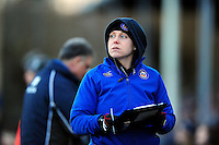 Rugby Operations Manager Sophie Bennett looks on from the sidelines. Aviva Premiership match, between Bath Rugby and London Irish on March 5, 2016 at the Recreation Ground in Bath, England. Photo by: Patrick Khachfe / Onside Images
