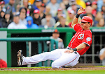 1 May 2011: Washington Nationals outfielder Rick Ankiel slides home safely during a game against the San Francisco Giants at Nationals Park in Washington, District of Columbia. The Nationals defeated the Giants 5-2. Mandatory Credit: Ed Wolfstein Photo