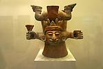 Ceramic incensario, Museo Maya de Cancun or Cancun Mayan Mayan Museum that opened in November 2012, Cancun, Mexico      .
