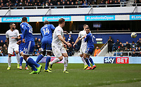 Matt Smith's header deflects off Cardiff City's Ashley Richards (right) for Queens Park Rangers' second goal<br /> <br /> Photographer /Rob NewellCameraSport<br /> <br /> The EFL Sky Bet Championship - Queens Park Rangers v Cardiff City - Saturday 4th March 2017 - Loftus Road - London<br /> <br /> World Copyright &copy; 2017 CameraSport. All rights reserved. 43 Linden Ave. Countesthorpe. Leicester. England. LE8 5PG - Tel: +44 (0) 116 277 4147 - admin@camerasport.com - www.camerasport.com