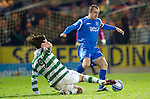 St Johnstone v Celtic..27.10.10  .Dave Mackay is tackled by Giorgios Samaras.Picture by Graeme Hart..Copyright Perthshire Picture Agency.Tel: 01738 623350  Mobile: 07990 594431