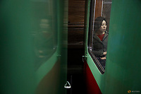 A woman travels on subway in central Pyongyang, North Korea April 14, 2017.    REUTERS/Damir Sagolj