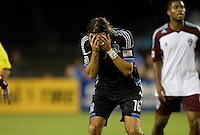 Alan Gordon of Earthquakes reacts after missing a goal during the game against Rapids at Buck Shaw Stadium in Santa Clara, California on August 25th, 2012.   San Jose Earthquakes defeated Colorado Rapids, 4-1.
