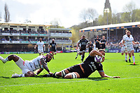 Taulupe Faletau of Bath Rugby scores a try in the first half. European Rugby Challenge Cup Quarter Final, between Bath Rugby and CA Brive on April 1, 2017 at the Recreation Ground in Bath, England. Photo by: Patrick Khachfe / Onside Images