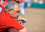 10 March 2012: Washington Nationals' equipment manager Mike Wallace watches play from the dugout during a Spring Training game against the New York Mets at Space Coast Stadium in Viera, Florida. The Nationals defeated the Mets 8-2 in Grapefruit League play. Mandatory Credit: Ed Wolfstein Photo