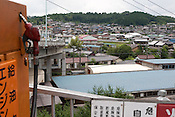 A view of Nakatsugawa town from the Kato factory (a light industry company) in Nakatsugawa, Japan, Monday 21st June 2010. Kato company has a workforce of 100 people, 50% of whom are 60 years of age or older. The elderly work force earn JPN &yen;800-1,000 per hour, but receive no annual bonus or pay rise.