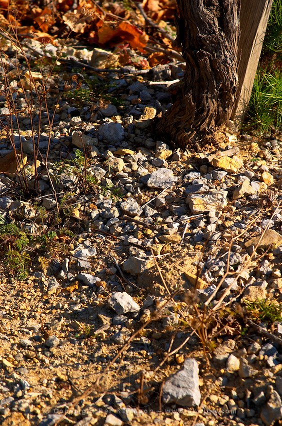 La Clape. Languedoc. Terroir soil. Vineyard. France. Europe. Schist slate soil.