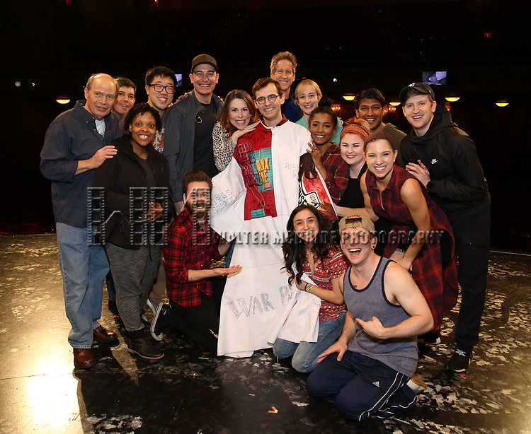 Joseph Medeiros with castduring the Actors' Equity Opening Night Gypsy Robe Ceremony honoring Joseph Medeiros for 'Groundhog Day' at the August Wilson Theatre on April 17, 2017 in New York City
