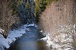 Idaho, Nordman, Snow lined Granite Creek flows out of the Kaniksu National Forest and into Priest Lake.