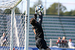 16 November 2008: Virginia's Michael Giallombardo (1) makes a save off of the open kick-off. The University of Maryland defeated the University of Virginia 1-0 at WakeMed Stadium at WakeMed Soccer Park in Cary, NC in the men's ACC tournament final.