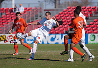 Conor Agnew (6) of North Carolina State takes a shot during the game at Ludwig Field in College Park, MD. Virginia Tech defeated North Carolina State, 3-2, in the ACC tournament play-in game.