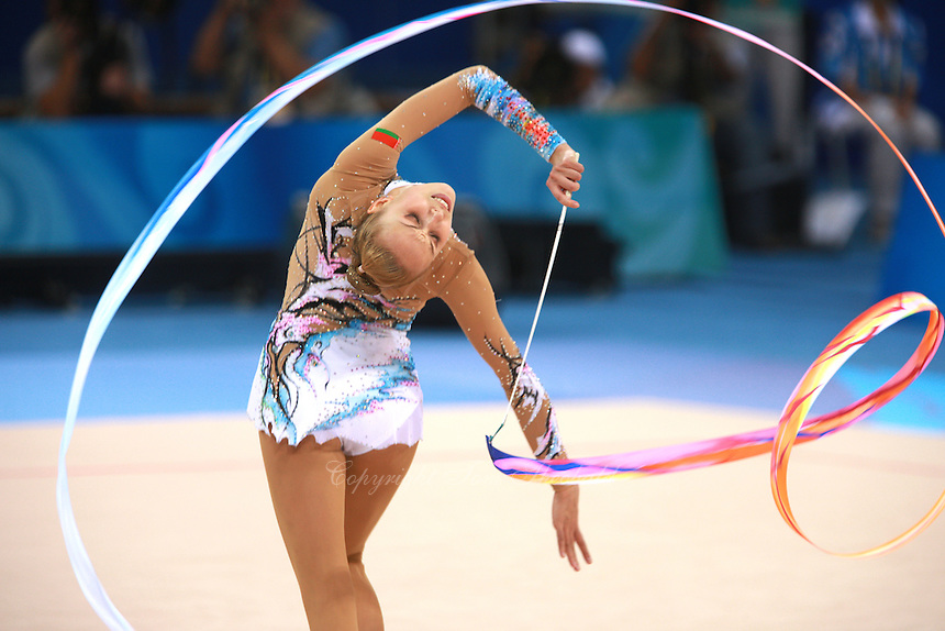 August 23, 2008; Beijing, China; Rhythmic gymnast Inna Zhukova of Belarus performs with ribbon on way to winning silver in the All-Around final at 2008 Beijing Olympics..(©) Copyright 2008 Tom Theobald