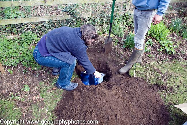 Model released teenage boy digging hole in garden to bury pet cat