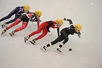 OLYMPICS: SOCHI: Iceberg Skating Palace, 13-02-2014, Shorttrack, Ladies' 500m, Quarterfinals, Suk Hee Kim (#139 | KOR), Valerie Maltais (#107 | CAN), Jianrou Li (#111 | CHN), Arianna Fontana (#124 | ITA), ©photo Martin de Jong