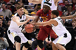 MILWAUKEE, WI - MARCH 18: Iowa State Cyclones forward Solomon Young (33) fights off defense from two Purdue Boilermakers during the first half of the 2017 NCAA Men's Basketball Tournament held at BMO Harris Bradley Center on March 18, 2017 in Milwaukee, Wisconsin. (Photo by Jamie Schwaberow/NCAA Photos via Getty Images)