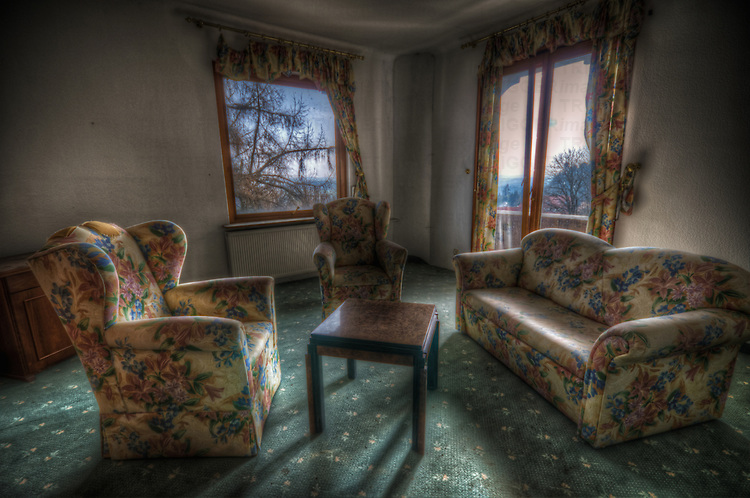 An old hotel in the Black Forest with abandoned room
