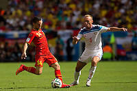 Dries Mertens of Belgium and Denis Glushakov of Russia