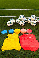 Bibs, cones, and soccer balls laid out prior to warmups. The women's national team of the United States defeated the Korea Republic 5-0 during an international friendly at Red Bull Arena in Harrison, NJ, on June 20, 2013.