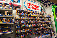 Thomas the Tank Engine merchandise is seen in a Toys R Us store in Times Square in new York on Monday, December 31, 2012. Mattel purchased Hit Entertainment, the owner of the rights, located in the UK, for $680 million in hopes of turning the little blue engine and his pals into a marketing god mine.   (© Richard B. Levine)
