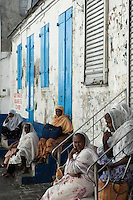 Mauritius. Muslim women in the city of Port Louis.