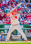 23 May 2015: Philadelphia Phillies catcher Carlos Ruiz at bat during a game against the Washington Nationals at Nationals Park in Washington, DC. The Phillies defeated the Nationals 8-1 in the second game of their 3-game weekend series. Mandatory Credit: Ed Wolfstein Photo *** RAW (NEF) Image File Available ***