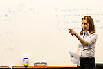 February 23, 2015. Durham, North Carolina.<br /> Professor Elisabeth deFontenay leads her Corporate Finance class on an exercise on stock returns.<br />  The Duke University School of Law is considered one of the best law schools in the country.