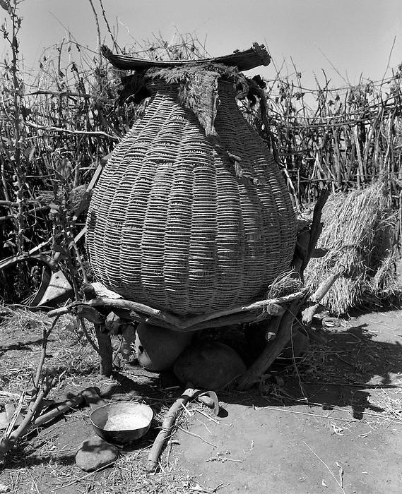 Karamoja, Uganda , Africa. - Village  grain bins