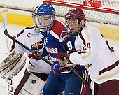 Terrence Wallin (UML - 9), Bill Arnold (BC - 24) - The University of Massachusetts Lowell River Hawks defeated the Boston College Eagles 4-2 (EN) on Tuesday, February 26, 2013, at Kelley Rink in Conte Forum in Chestnut Hill, Massachusetts.