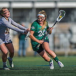30 March 2016: Manhattan College Jasper Midfielder Kaitlyn Cunningham, a Senior from Spring Lake, NJ, in action against the University of Vermont Catamounts at Virtue Field in Burlington, Vermont. The Lady Cats defeated the Jaspers 11-5 in non-conference play. Mandatory Credit: Ed Wolfstein Photo *** RAW (NEF) Image File Available ***