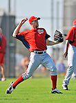 24 February 2012: Washington Nationals' pitcher Stephen Strasburg warms up at the Carl Barger Baseball Complex in Viera, Florida. Mandatory Credit: Ed Wolfstein Photo