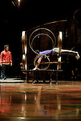 "August 15, 2012. Raleigh, NC..  Members of the House Troupe Performers, a group of 26 Chinese acrobats, practice a tumbling routine..  Cirque du Soleil will present Dralion, billed as a ""blend of Eastern and Western acrobatic prowess"", at the PNC Arena from August 15-19, 2012."
