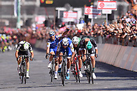 ITALIA. 07-05-2017. Fernando Gaviria -Col- (Quick-Step Floors) duranrel el sprint final para ser el ganador de la etapa 3 entre Tortoli' a Cagliari con 148 kms de la versi&oacute;n 100 del Giro de Italia hoy 07 de mayo de 2017. / Fernando Gaviria -Col- (Quick-Step Floors) during the final sprint of the stage 3 to be the winner between Tortoli 'to Cagliari with 148 kms of the 100 version of the Giro d'Italia today 07 May 2017 Photo: VizzorImage/ Gian Mattia D'Alberto / LaPresse<br /> VizzorImage PROVIDES THE ACCESS TO THIS PHOTOGRAPH ONLY AS A PRESS AND EDITORIAL SERVICE AND NOT IS THE OWNER OF COPYRIGHT; ANOTHER USE HAVE ADDITIONAL PERMITS AND IS  REPONSABILITY OF THE END USER