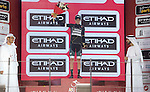 Patrick Konrad (AUT) Bora-Hansgrohe wins the intermediate sprint Black Jersey at the end of Stage 4 Yas Island Stage of the 2017 Abu Dhabi Tour, 143km with 26 laps of 5.5km of the Yas Marina Circuit, Abu Dhabi. 26th February 2017.<br /> Picture: ANSA/Claudio Peri | Newsfile<br /> <br /> <br /> All photos usage must carry mandatory copyright credit (&copy; Newsfile | ANSA)