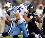 Tennessee Titans  quarterback Jake Locker scrambles against the Seattle Seahawks in a pre-season game at CenturyLink Field in Seattle, Washington on August 11, 2012.  ©2012. Jim Bryant Photo. All Rights Reserved...