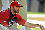 22 July 2011: Washington Nationals second baseman Danny Espinosa stretches out up prior to a game against the Los Angeles Dodgers at Dodger Stadium in Los Angeles, California. The Nationals defeated the Dodgers 7-2 in their first meeting of the 2011 season. Mandatory Credit: Ed Wolfstein Photo