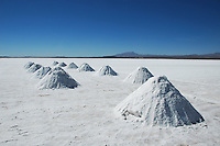 Drying salt mounds, Salar de Uyuni, Potosi, Bolivia