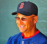 14 March 2009: Boston Red Sox' Manager Terry Francona speaks with members of the press in the dugout prior to a Spring Training game against the Baltimore Orioles at Fort Lauderdale Stadium in Fort Lauderdale, Florida. The Orioles defeated the Red Sox 9-8 in the Grapefruit League matchup. Mandatory Photo Credit: Ed Wolfstein Photo