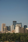 Minnesota, Twin Cities, Minneapolis-Saint Paul:  Minneapolis skyline from Walker Art Center..Photo mnqual282-75239..Photo copyright Lee Foster, www.fostertravel.com, 510-549-2202, lee@fostertravel.com.