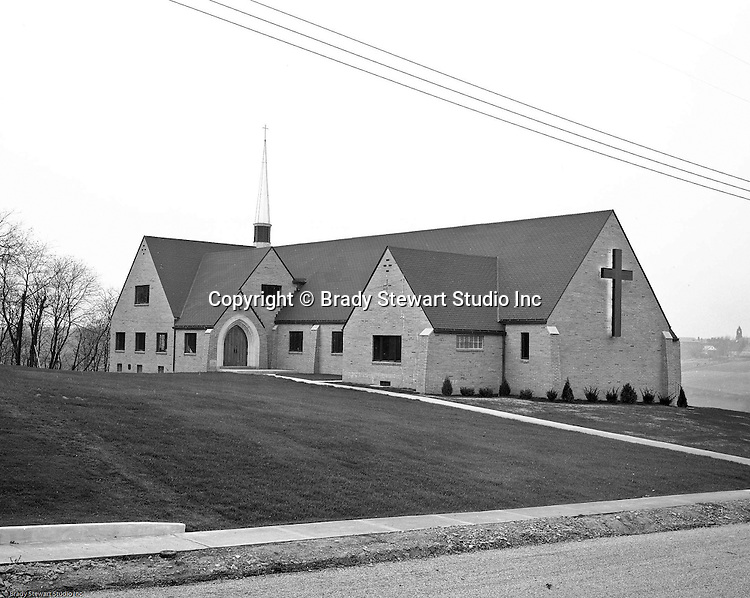 Mt Lebanon PA:  View of the Our Savior Lutheran Church on Country Club Road in the Sunset Hills Section of Mt. Lebanon - 1953.