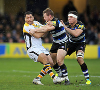 George Smith of Wasps is tackled by Chris Cook of Bath Rugby. Aviva Premiership match, between Bath Rugby and Wasps on February 20, 2016 at the Recreation Ground in Bath, England. Photo by: Patrick Khachfe / Onside Images
